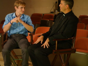 Nathan Gamble star of Dolphin Tale 2 interviewed at Family Theater by Fr. Ed Benioff.