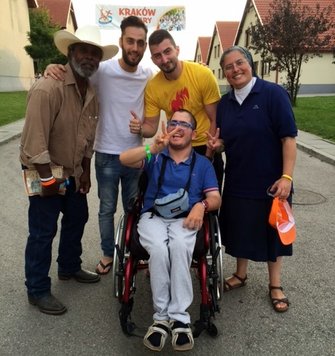 Clarence with Vincentian youth from Sicily. Samuele, in Wheelchair, met Pope Francis twice