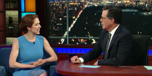 Ellie Kemper And Stephen Colbert Talk Her Baby S Catholic